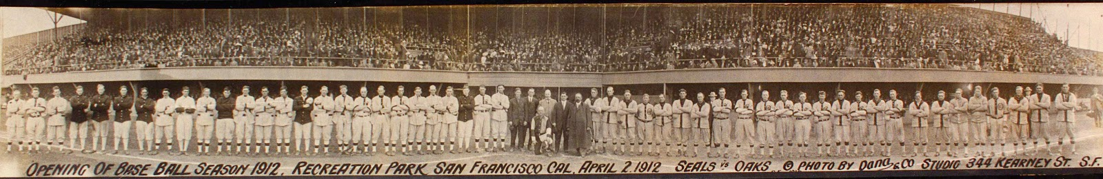 Opening of Base Ball Season 1912, Recreation Park, San Francisco, Cal. April 2 1912, Seals vs Oaks, Dick Dobbins Collection on the Pacific Coast League, courtesy, California Historical Society, MS 4031.020