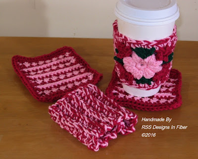 Pink and Burgundy Cup Cozy and Coaster Set
