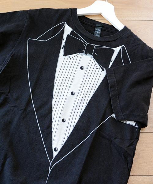 0785bb58b9d42 tultex タキシード プリント パロディ コットン Tシャツ 黒