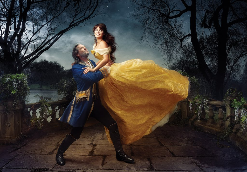 Jeff Bridges with Penelope Cruz as Belle and the 'transformed' Prince from Beauty and The Beast