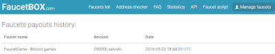 first payment of free Bitcoin, from FaucetGame to faucetBox