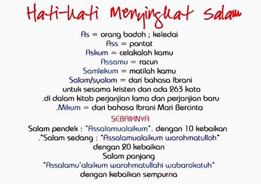 Bagi Kamu Yang Suka Menyingkat Atau Memodifikasi Salam, Baca Ini! Tolong Hormati Syariatmu!