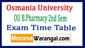 Osmania University OU B.Pharmacy 2nd Sem Exam Time Table