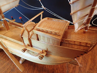 Deckhouse detail of Chinese junk model for inland use at Penobscot Marine Museum