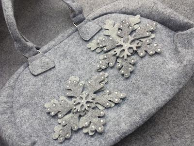 borsa fiocchi di neve feltro pasta polimerica