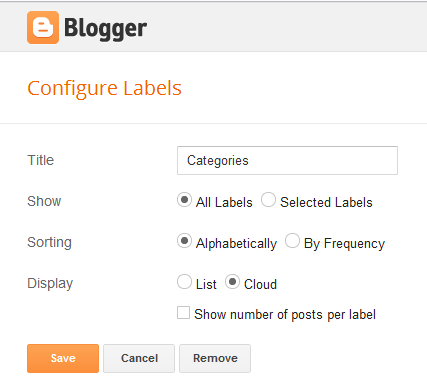 configure label blogger layouts