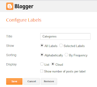 label gadget in Layout tab of Blogger dashboard