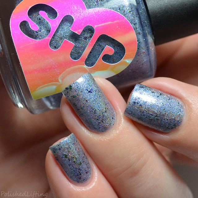 blue holographic blue shimmer nail polish