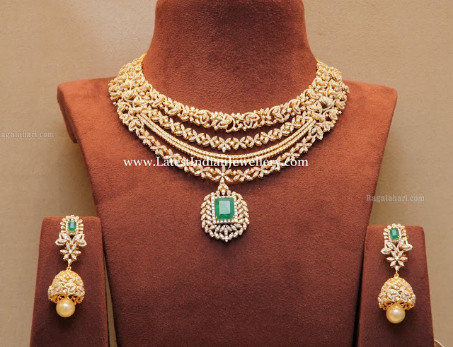 Amazing Diamond Necklace Jhumkas