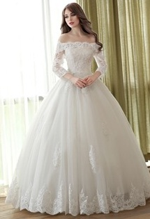Floor Length Scalloped Off the Shoulder Long Sleeve Ball Gown Wedding Dress...