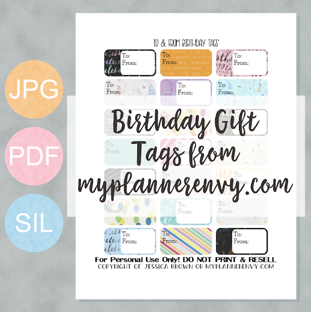 Free Printable Birthday Gift Tags from myplannerenvy.com