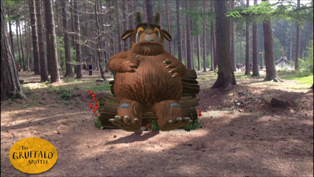 Screenshot of the Gruffalo app showing the gruffalo in a woodland