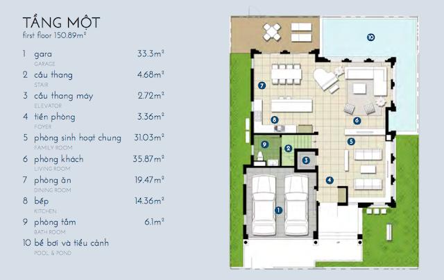 Thiết kế tầng 1 biệt thự Kim Cương