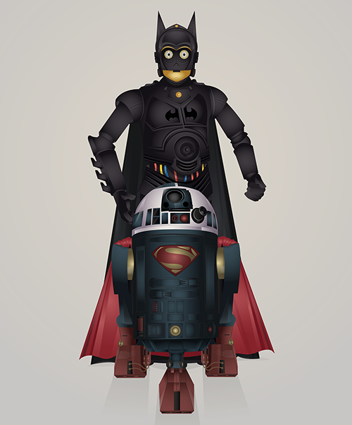 01-Steve-Berrington-Batman-v-Superman-and-their-Superhero-R2-D2-Friends-www-designstack-co