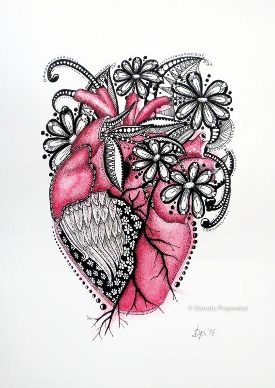 kredki akwarelowe Zentangle serce
