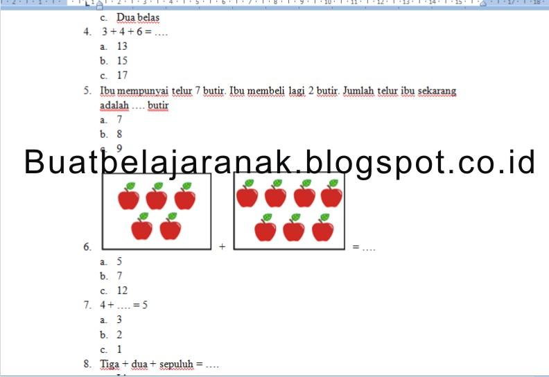 Contoh Soal MATEMATIKA Kelas 1 SD Bab Penjumlahan dan Pengurangan Bilangan Sampai 20  Buat