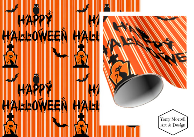 Halloween-happy-paper-gift-orange-pattern-design-by-yamy-morrell
