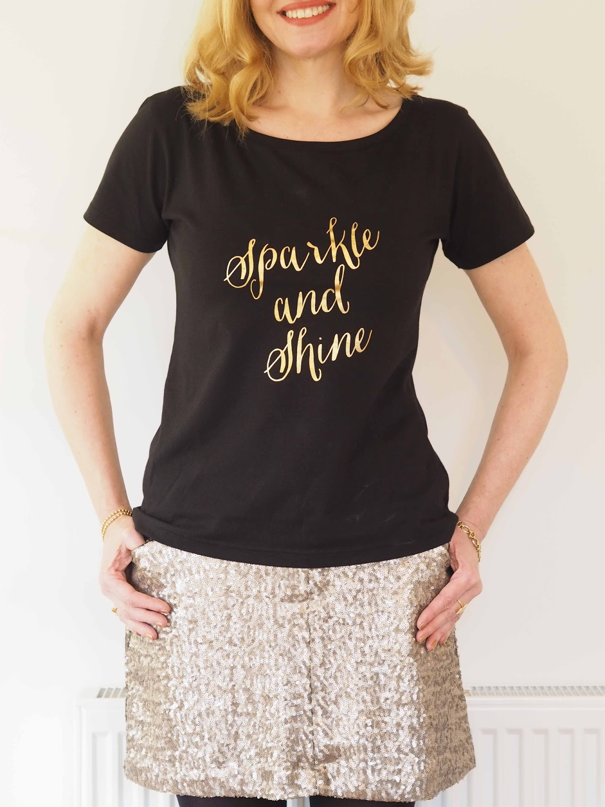 Sparkle and shine tee shirt, pale gold sequin a-line mini skirt, over 40