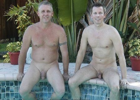 Naked father tiny son