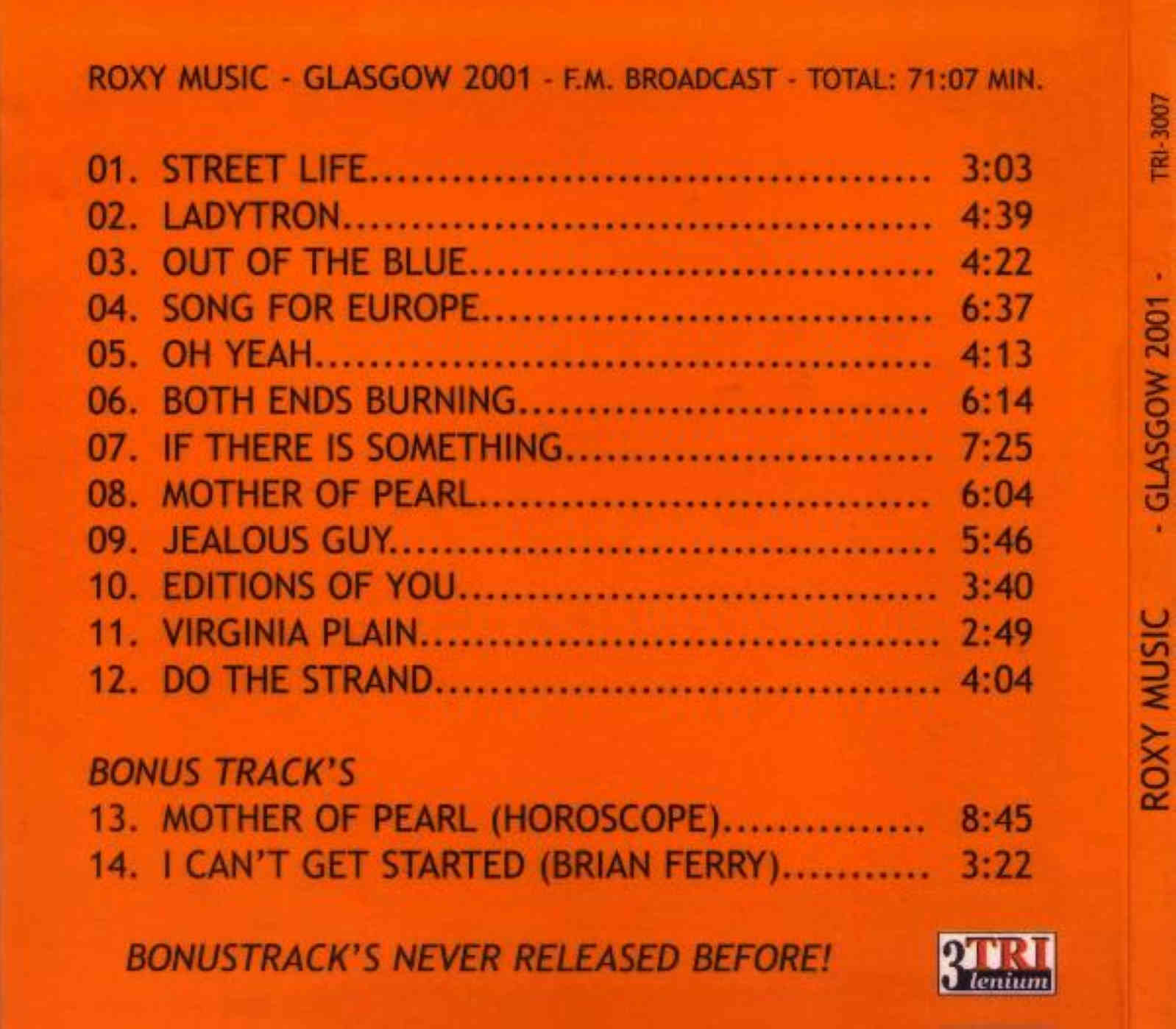 2019 St Dj Songs Dowode 4 33 Mb: Roxy Music: Glasgow 2001. BBC Radio One Broadcast, Glasgow
