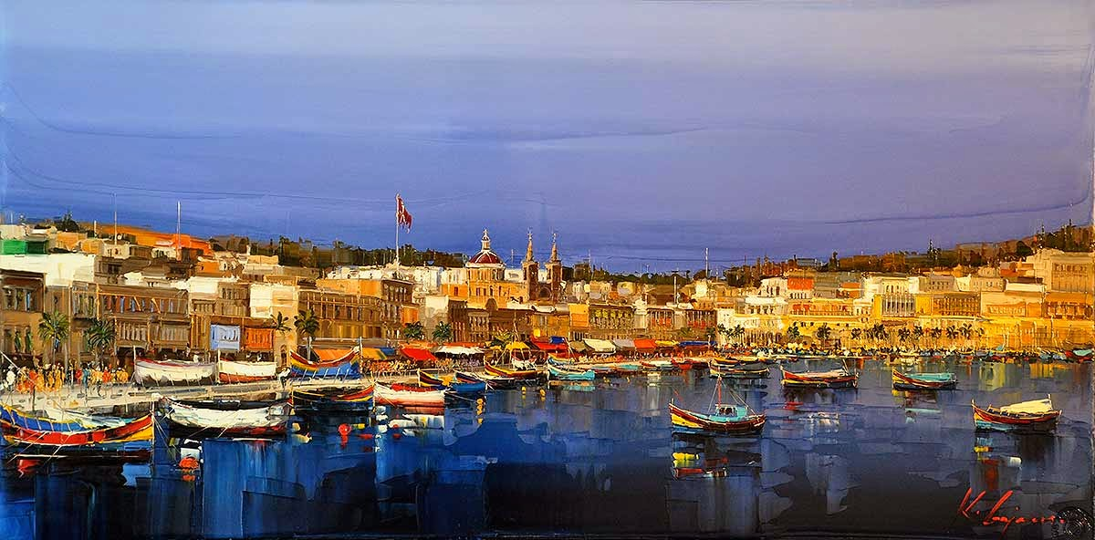 36-Marsaxlokk-Kal-Gajoum-Paintings-of-Dream-Like Cities-of-the-World-www-designstack-co