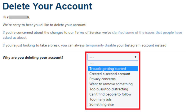 how to delete instagram account permanently in hindi
