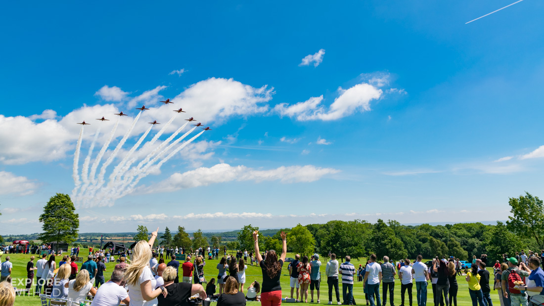 The Red Arrows over The Celtic Manor golf course
