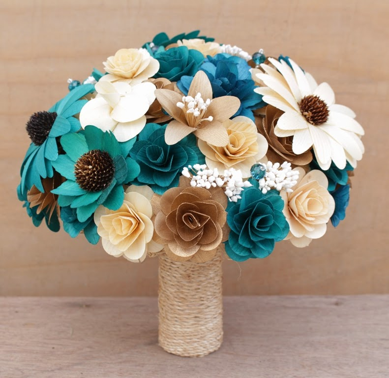 Teal Wedding Flowers Ideas: Teal And Copper Wedding: Bouquets, Corsages And