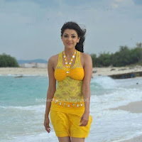 Kajal Agarwal Hot Photos at Beach in yellow dress