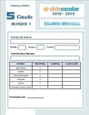 Examen del Bloque I Octubre Quinto grado 2018-2019