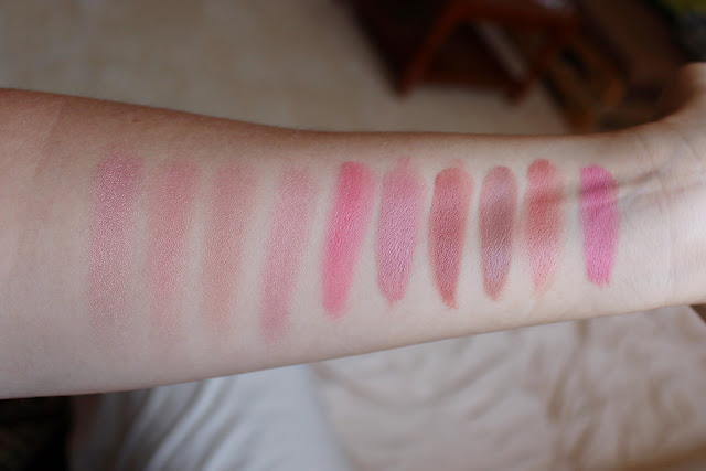 Blush Swatches: Becca Beach Tint Shimmer Souffle in Lychee/Opal, Becca Watermelon/Moonstone, Becca Fig/Opal, Edward Bess All Over Seduction Paradise, Stila Petunia, Stila Lillium, Stila Peony, Le Metier de Beaute Tenne, Le Metier de Beaute Coral Nymph, Make Up For Ever HD Blush 210