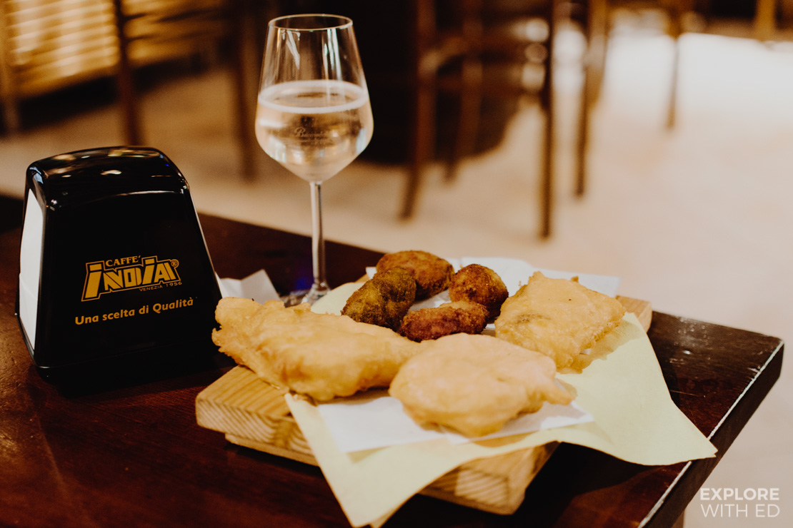 Cicchetti in Bacarando Venice on a Food Tour with The Roman Guy, Deep fried cheese and prosecco