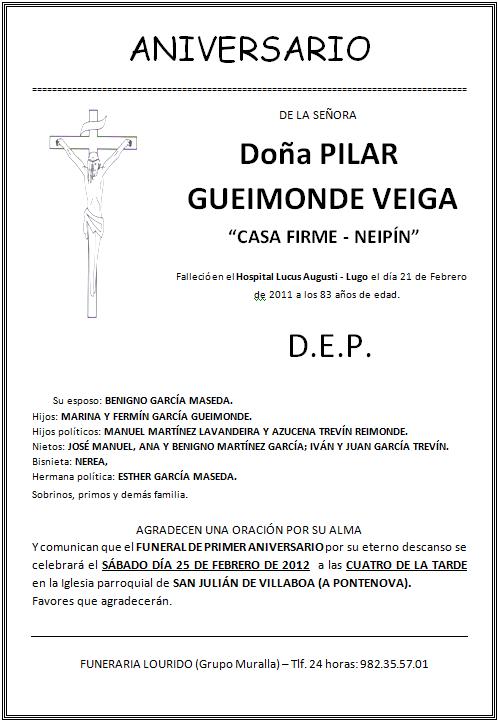 Lourido Esquela Aniversario Pilar Gueimonde Veiga Casa Firme Neipín