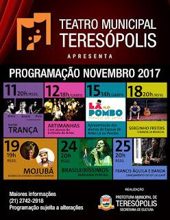Programação Teatro Municipal de Teresópolis - Novembro de 2017