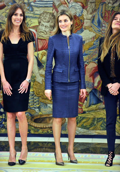Princess Letizia of Spain attended several audiences at the Zarzuela Palace in Madrid. wore Hugo Boss Leather skirt suit