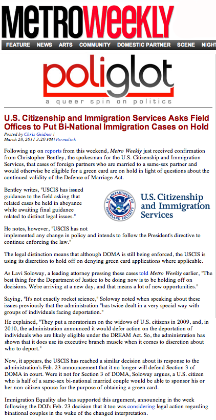 STOP THE DEPORTATIONS THE DOMA PROJECT: USCIS Announces