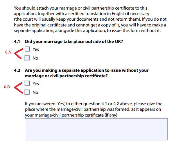 Money divorce a step by step guide to completing a divorce a tick 1 of these 2 boxes this should be obvious and in most cases will be no solutioingenieria Choice Image