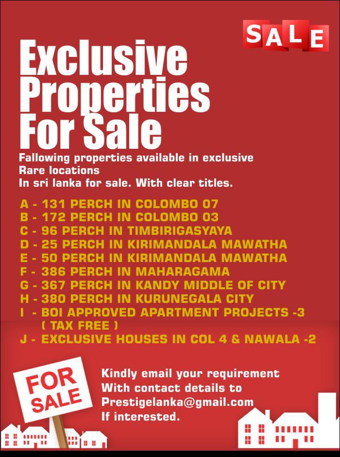 Exclusive Properties For Immediate Sale.