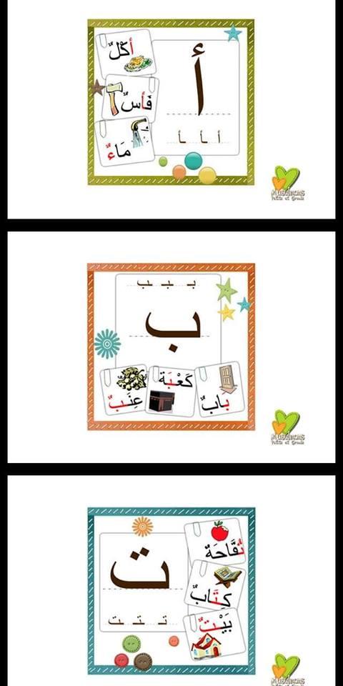 بطاقات الحروف بأشكالها المختلفة