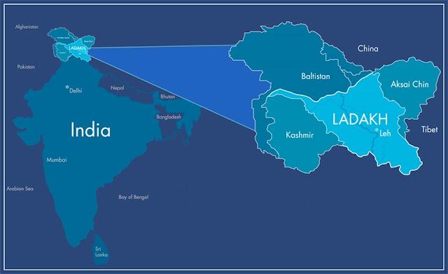 Mapa de Ladakh na Índia