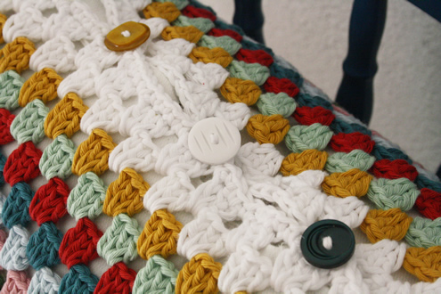 Vintage crochet pillow case vintage buttons