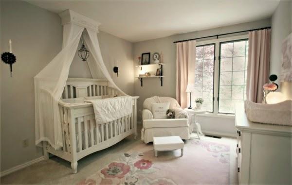 cuarto bebé rosa gris