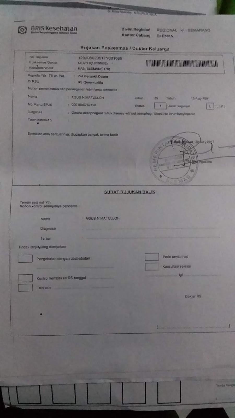 Contoh Surat Rujukan Bpjs Dari Faskes 1 Satu
