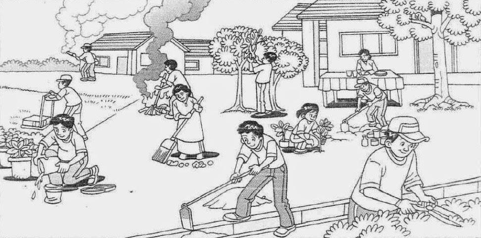 Gambar Gotong Royong Di Sekolah Kartun Hitam Putih Ideku Unik