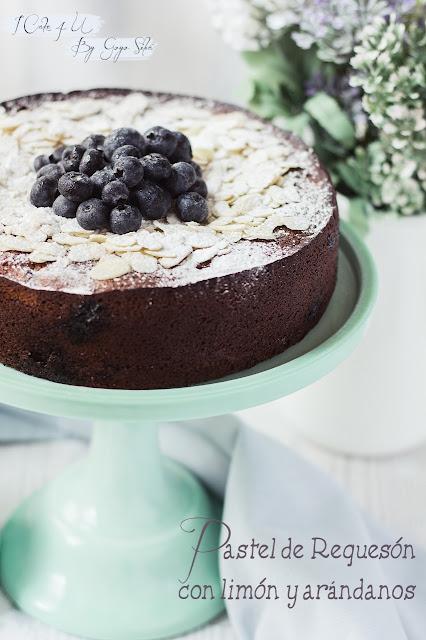 lemon-blueberry-cheesecake, pastel-de-quark-limon-y-arandanos