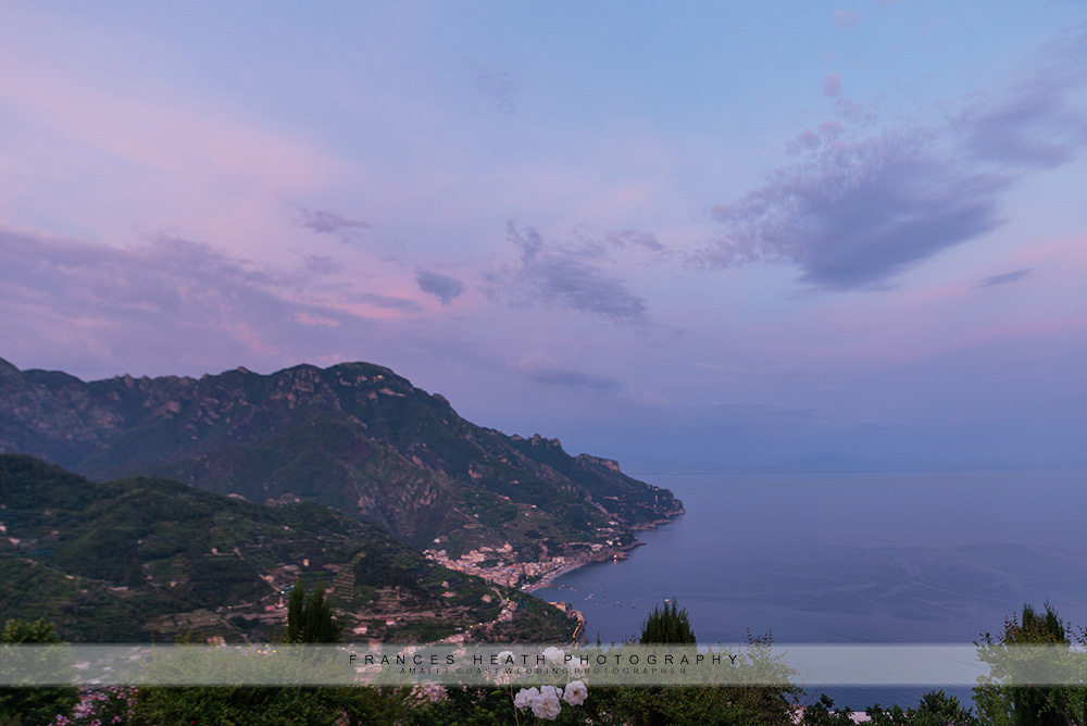 Ravello view at sunset