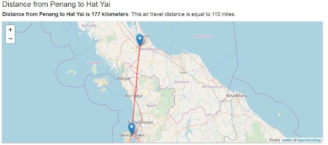 Penang to Hat Yai is 177 kilometers