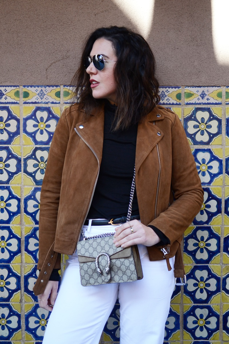 small Gucci Dionysus bag Suede jacket Mackage Aritzia Zara sparkle boots Santa Fe travel outfit Vancouver fashion blogger