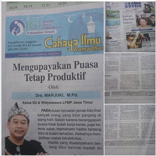Tulisan Pak Drs. Marjuki., M.Pd, Ketua IGI dan LPMP Jatim