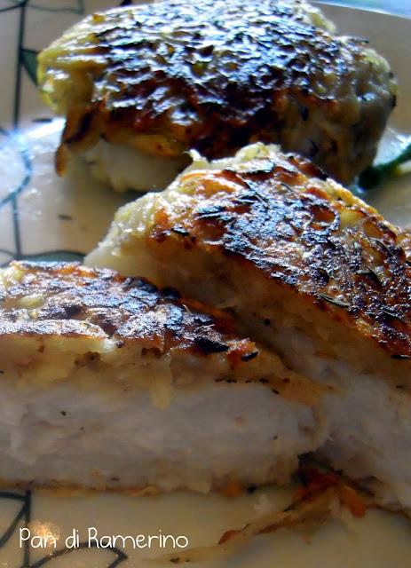 Pan di ramerino cuori di nasello in crosta di patate e timo for Cucinare nasello